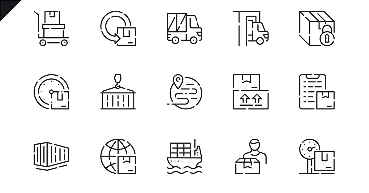 Download Simple Set Package Delivery Line Icons by alexdndz