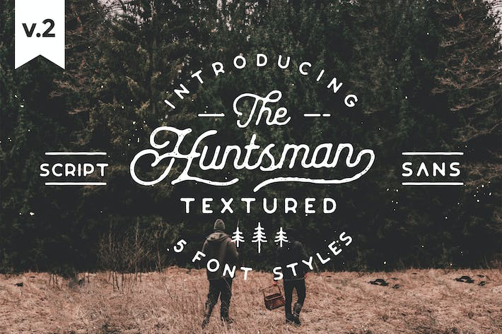 Thumbnail for Huntsman Script & Sans Typeface, Roughed Ver.2