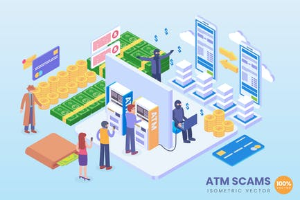 Isometric ATM Scams Vector Concept