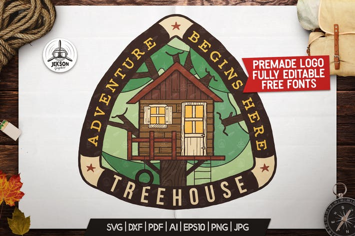 Thumbnail for Tree House Badge / Vintage Camping Logo Patch SVG
