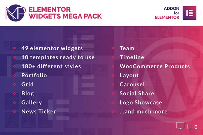 Thumbnail for Elementor Widgets Mega Pack - Addons for Elementor