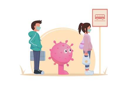 Social Distancing Queue Avoid Coronavirus