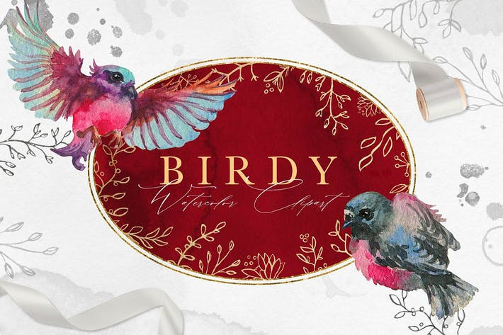 Thumbnail for Vintage Birdy Watercolor Clipart