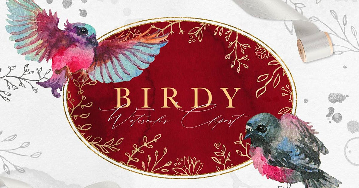Download Vintage Birdy Watercolor Clipart by NassyArt