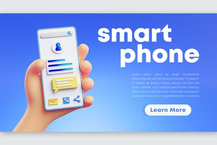 Cute Hand 3D Rendering Holding Phone Blue