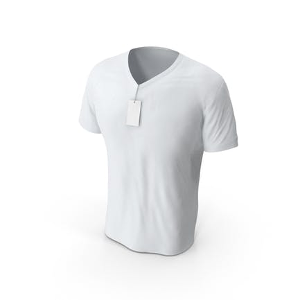 Male V-Neck Mock-up Worn with Tag
