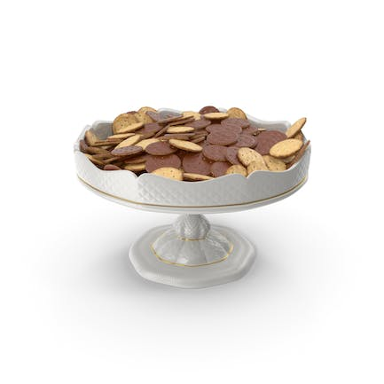Fancy Porcelain Bowl With Chocolate Covered Crackers