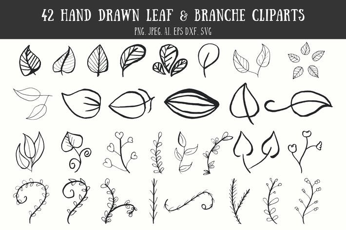 Thumbnail for 42 Leaf & Branche Handmade Cliparts