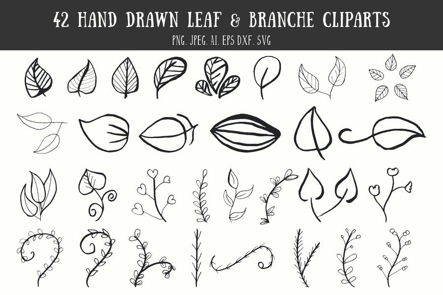 42 Leaf & Branche Handmade Cliparts