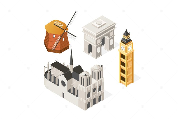 Thumbnail for European landmarks - isometric set of objects