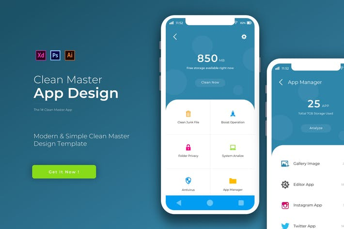 Thumbnail for CleanMaster | App Design Template