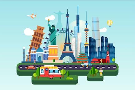 World Travel Flat Concept