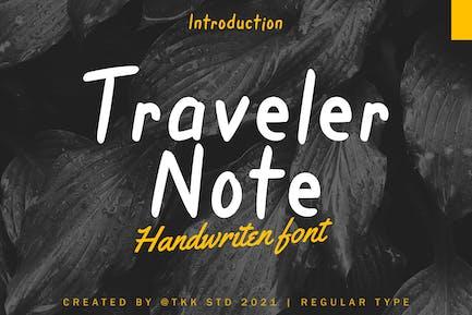 Note du voyageur - Police manuscrite