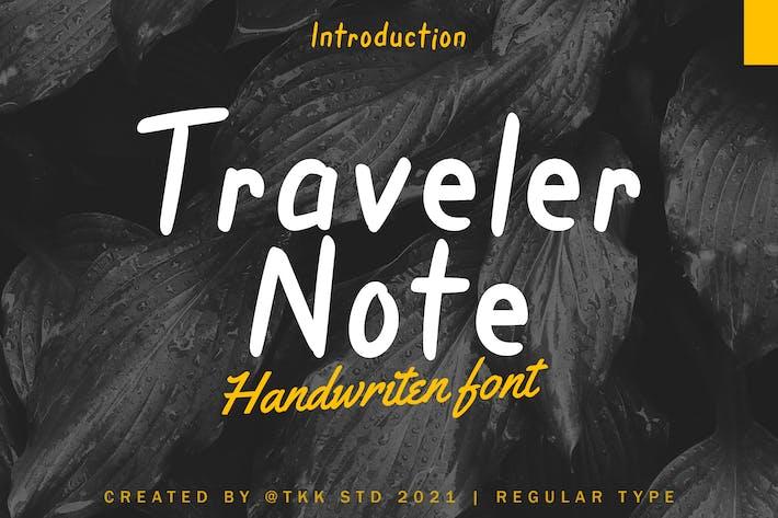 Nota del viajero - Fuente manuscrita