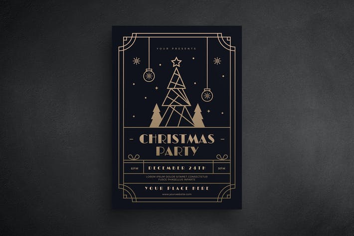 Thumbnail for Christmas Gold Deco Event Flyer