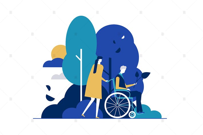 Thumbnail for Young woman with disabled man in park illustration