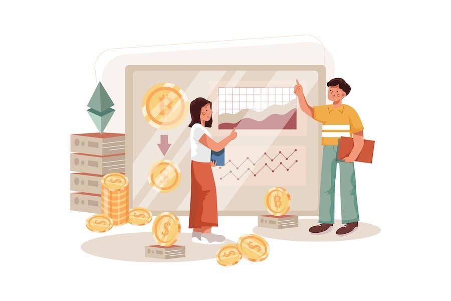 Cryptocurrency Exchange Illustration Concept