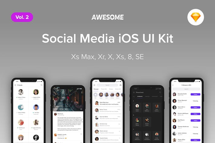 Thumbnail for Awesome iOS UI Kit - Social Media Vol. 2 (Sketch)