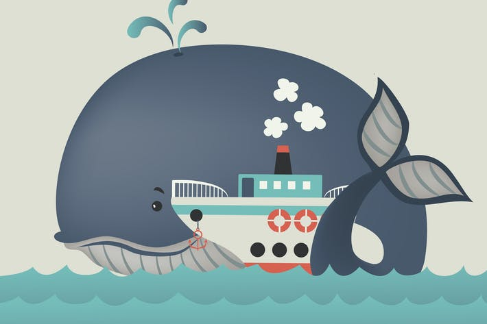 Thumbnail for Whale and steamship in blue sea . Vector