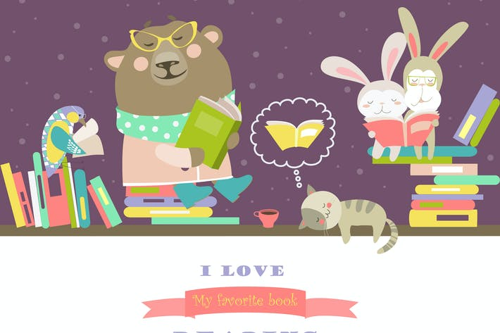 Thumbnail for Vector cute animals reading books on bookshelves