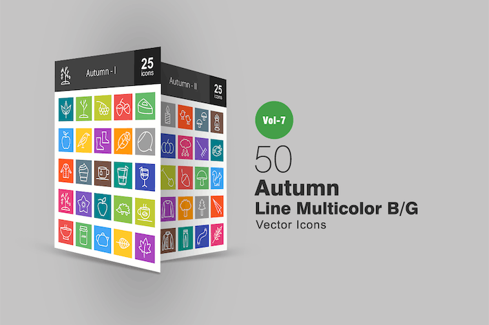 Thumbnail for 50 Autumn Line Multicolor B/G Icons