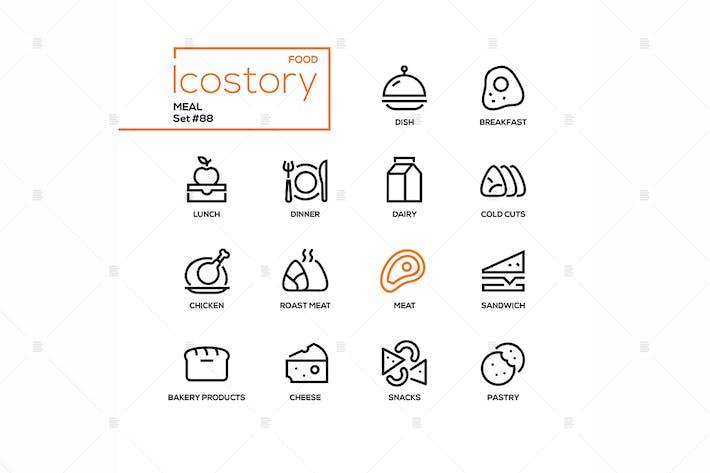 Meal - moderne Linie Design Stil Icons Set