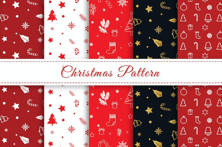 Christmas Pattern Red White Colors