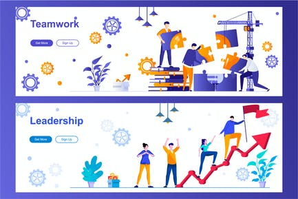 Teamwork and Leadership Web Banners