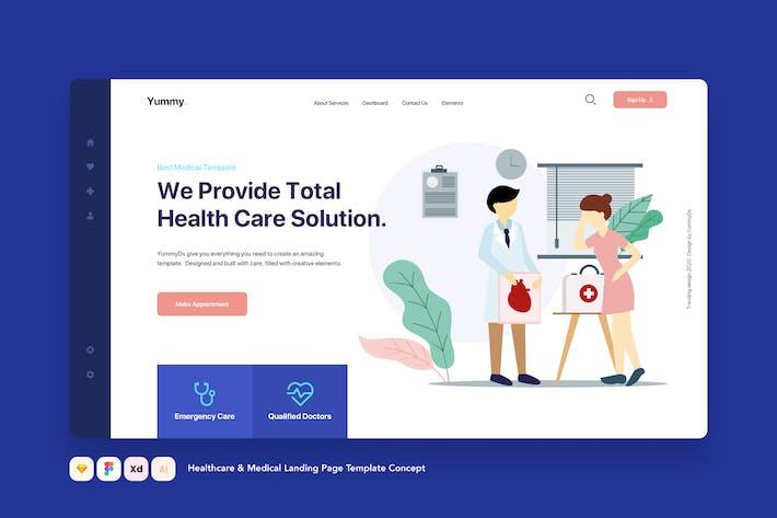 Concept de modèle de page de destination Soins de santé et soins médicaux