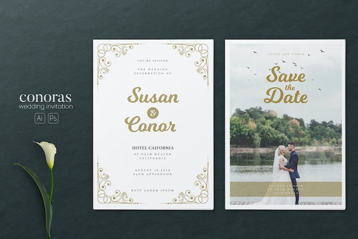Thumbnail for Minimalist Wedding AI and PSD Invitation Vol.05