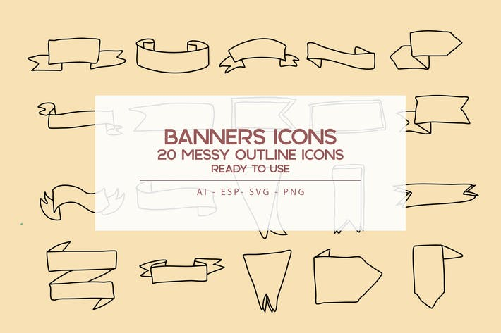 Thumbnail for Banners outline Icons Set
