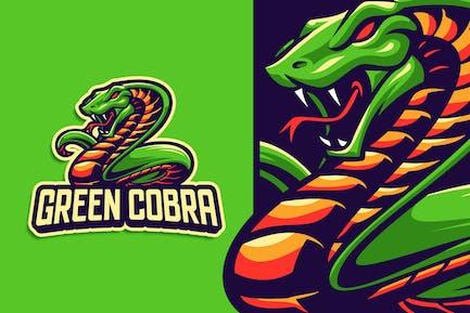 Green Cobra Mascot Character Logo Template
