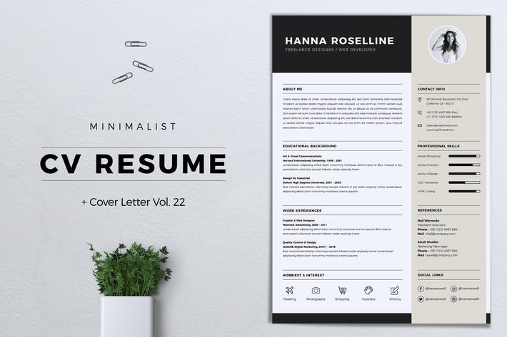 Thumbnail for Minimalist CV Resume Vol. 22
