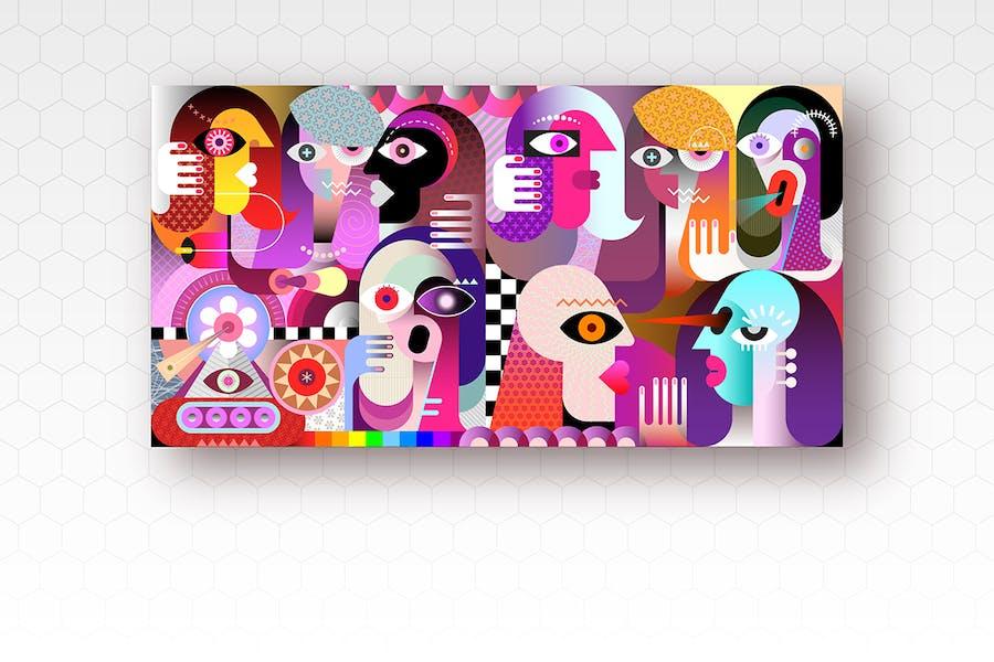 Большая группа разных людей вектор произведения искусства