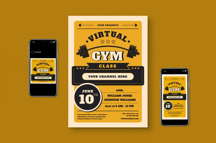 Thumbnail for Virtual Gym Class Event Flyer Set
