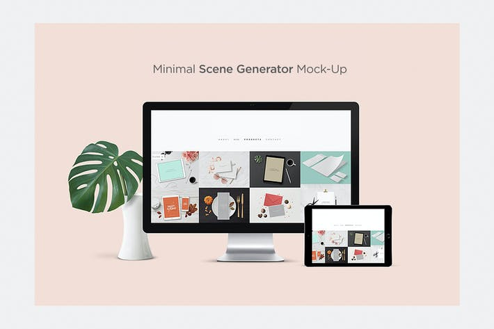 Thumbnail for Minimal Scene Generator Hero Responsive Mock-Up