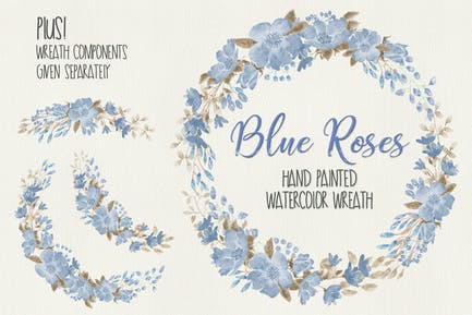 Wreath of Blue Roses