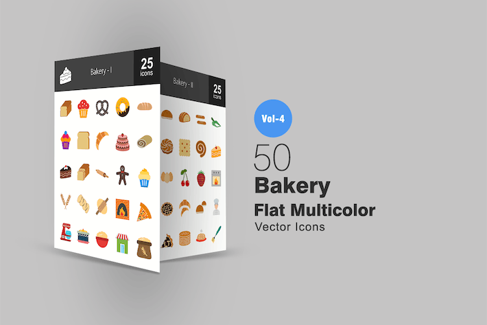 Thumbnail for 50 Bakery Flat Multicolor Icons
