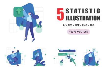 Statistic - Flat Design Illustrations
