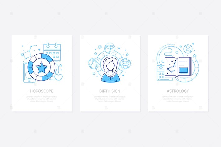 Thumbnail for Astrology concept - line design style banners set