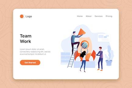 Team Work Flachkonzept für Landing Page