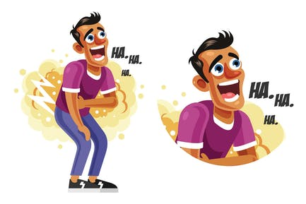 Man Laughing Out Loud Vector Illustration