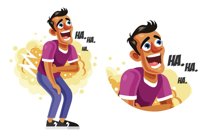 Cover Image For Man Laughing Out Loud Vector Illustration