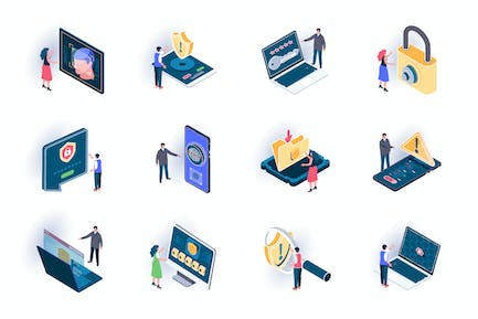 Cyber Security Isometric Icons Pack