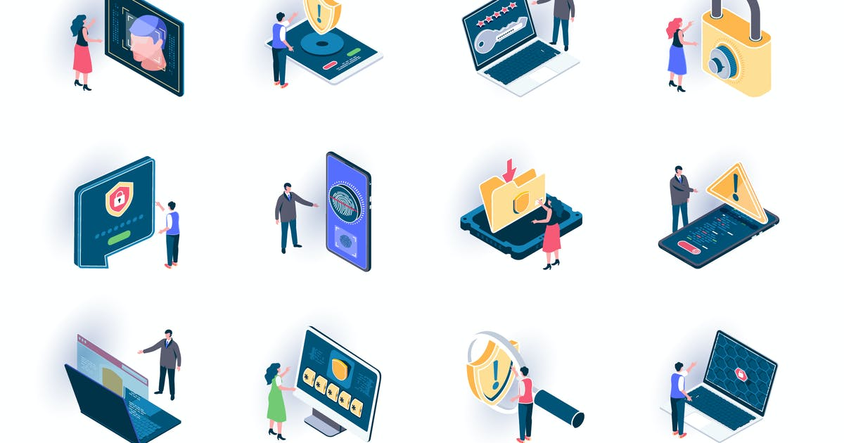 Download Cyber Security Isometric Icons Pack by alexdndz
