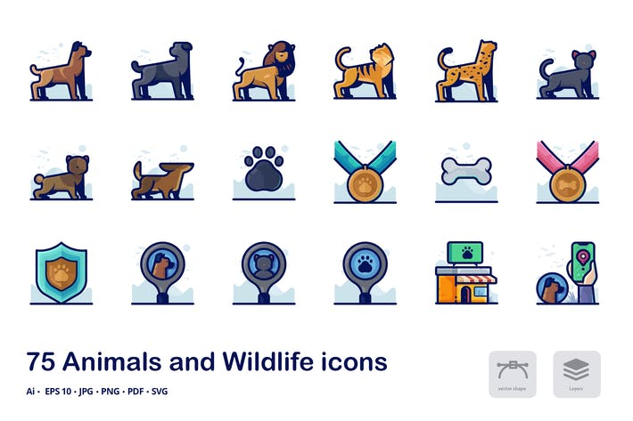 Thumbnail for Animals Detailed Filled Outline Icons