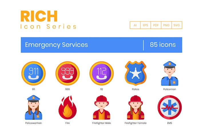 85 Emergency Services Icons - Rich Series
