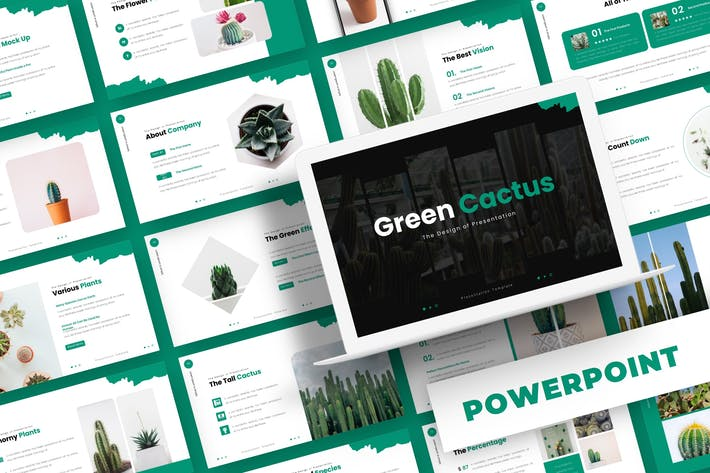 Thumbnail for Зеленый кактус - Powerpoint Шаблон