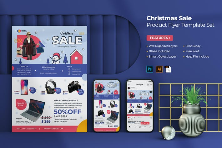 Thumbnail for Christmas Sale Product Flyer Set