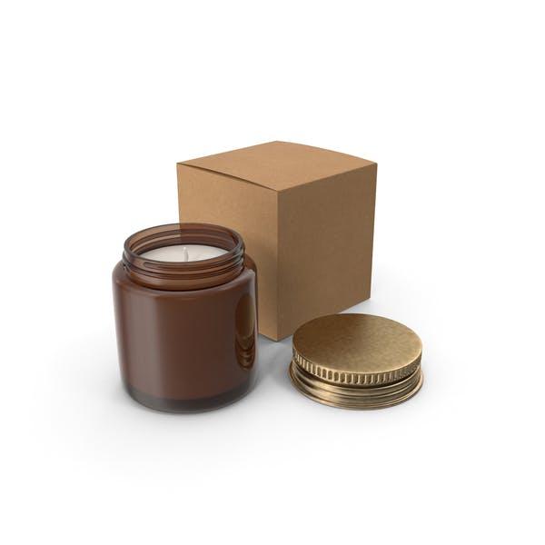 Свеча Янтарная банка с ремесленной коробкой